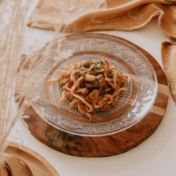 Recette de nouilles aux émincés de soja et sauce aigre-douce